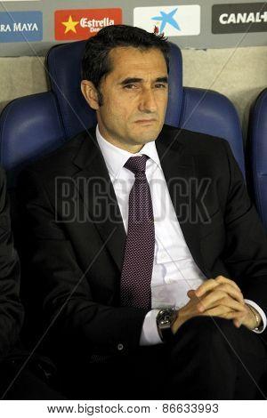 BARCELONA - MARCH, 4: Ernesto Valverde coach of Athletic Bilbao during a Spanish League match between RCD Espanyol vs Bilbao at the Estadi Cornella on March 4, 2015 in Barcelona, Spain