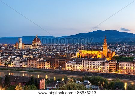Skyline of Florence the capital of Tuscany Northern Italy. Amazing city center of Renaissance art and architecture. poster