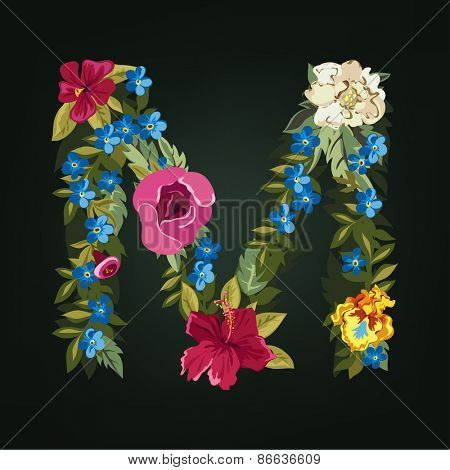 M letter. Flower capital alphabet. Colorful font. Uppercase.  Vector illustration.