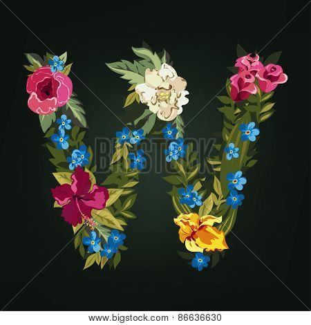 W letter. Flower capital alphabet. Colorful font. Uppercase.  Vector illustration.
