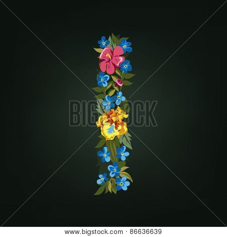 I letter. Flower capital alphabet. Colorful font. Uppercase.  Vector illustration.