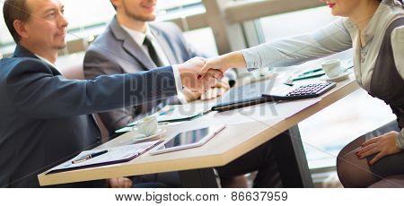 Business handshake.