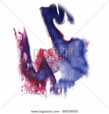 abstract blue, pink hand drawn watercolor blot insult Rorschach