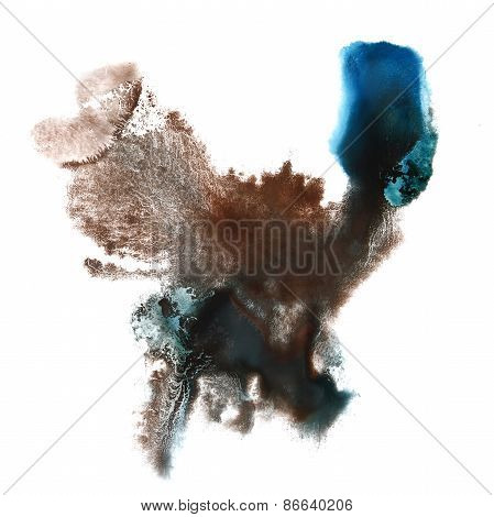 Abstract brown, blue watercolor hand painted background insult R