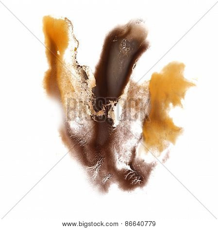 Abstract brown, yellow watercolor hand painted background insult