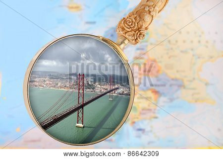 Looking in on Lisbon bridge over the Tejo river Portugal Europe poster
