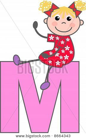 a girl with letter M