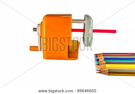Sharpener Mechanical For Pencils Isolated On A White Background