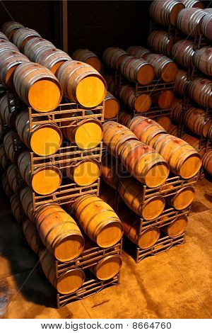 Wine Barrels Or Vats