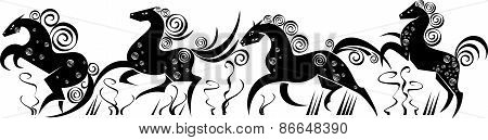 Stylized Silhouettes Of Horses Running.eps
