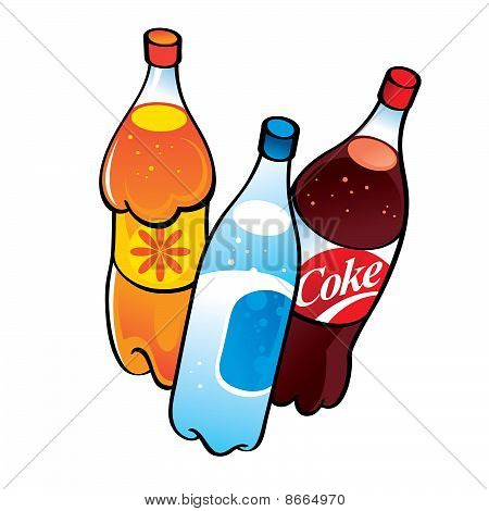 Different nonalcoholic Drinks - fanta, cola, spring water - in plastic bottles poster