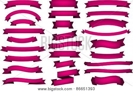 Set of fuchsia banners and ribbons. Vector illustration.