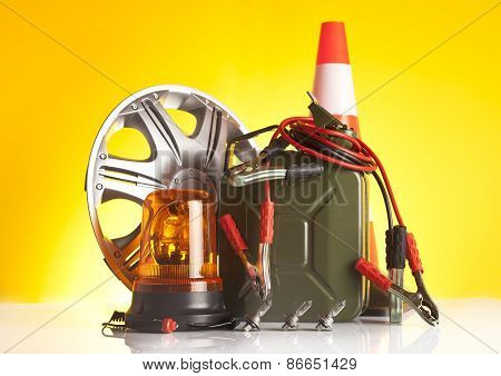 motor oil canister and car accessories