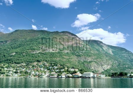 Mountain Village in a Fjord