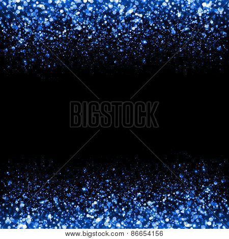 Abstract blue sparkle glitter background. Glitter stars background. Sparkling flow background