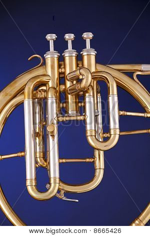 Peckhorn French Horn Isolated On Blue