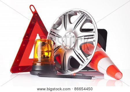 warning triangle and road emergency items isolated on white poster