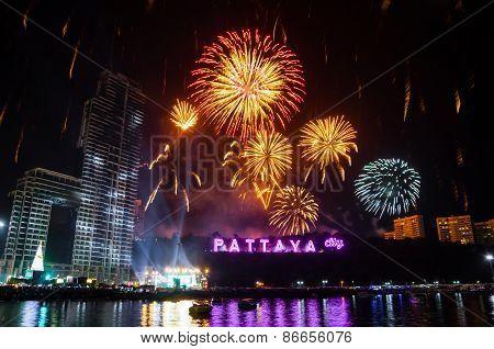 Fireworks At Pattaya Gulf, Chonburi.