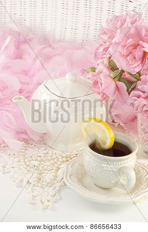 Feminine Tea Party With Roses