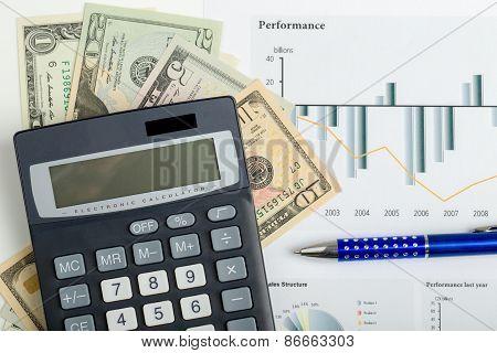 Usa Dollar Money Banknotes, Pen And Calculator