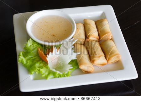 Fried Chinese Traditional Spring egg rolls food