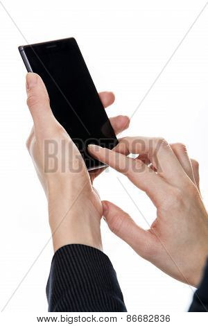 woman's hands and mobile phone
