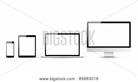 Computer, laptop, tablet and smartphone vector illustrations