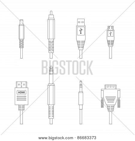 Contour vector color outline various audio connectors and inputs set poster