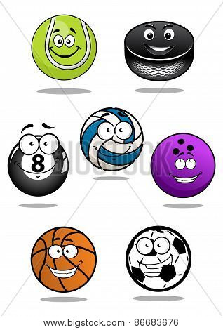 Smiling sport equipments cartoon characters