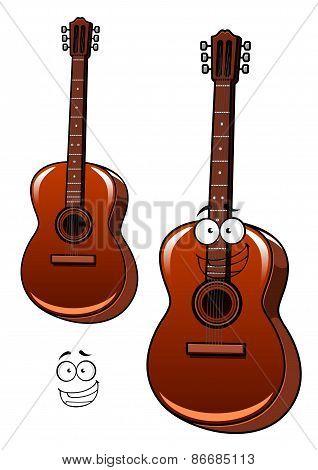 Classical acoustic guitar cartoon character