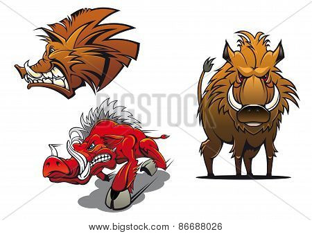 Cartoon wild boars with ruffled fur