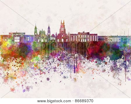 Bogota Skyline In Watercolor Background V2