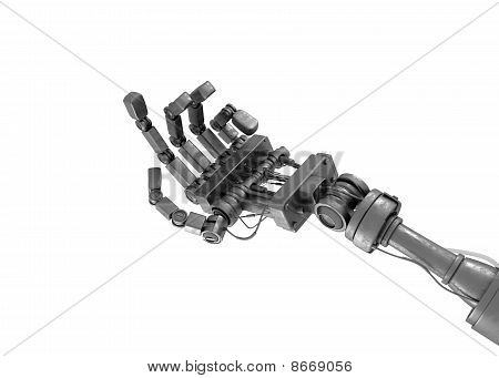 Robotic begging hand isolated on white. 3d image poster