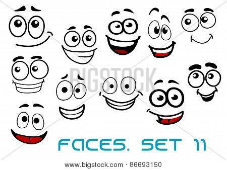Funny happy faces cartoon characters