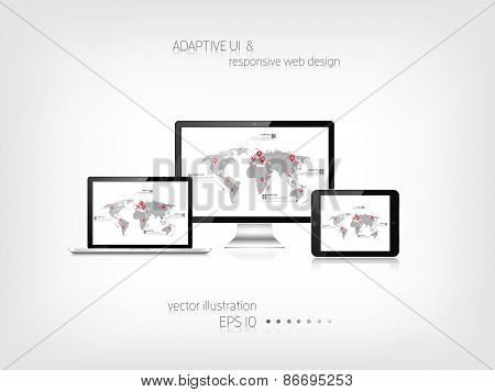 Responsive web design. Adaptive user interface. Digital devises. Laptop, tablet, monitor, smartphone