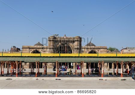 Ahmedabad, India - December 28, 2014: Tourist Visit Jama Masjid In Ahmedabad