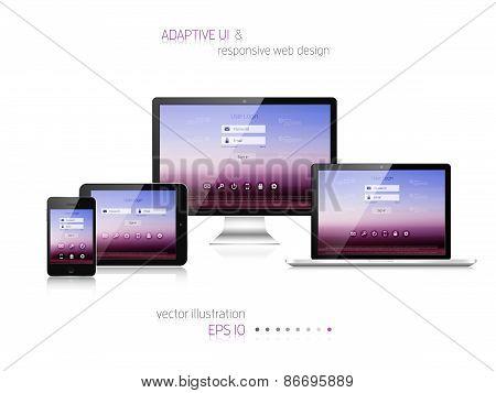 Responsive web design. Adaptive user interface. Digital devises. Laptop, tablet, monitor, smartphone