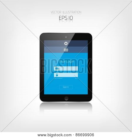 Responsive web design. Adaptive user interface. Digital devises. Tablet. Web site template concept.