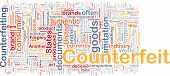 Background concept wordcloud illustration of counterfeit goods poster
