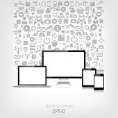 Responsive web design. Adaptive user interface. Digital devises. Laptop, tablet, monitor, smartphone. Web site template concept. Application web icons. poster