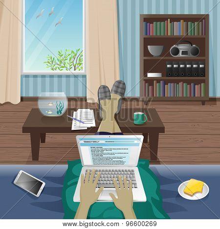Man Freelancer work at home on laptop