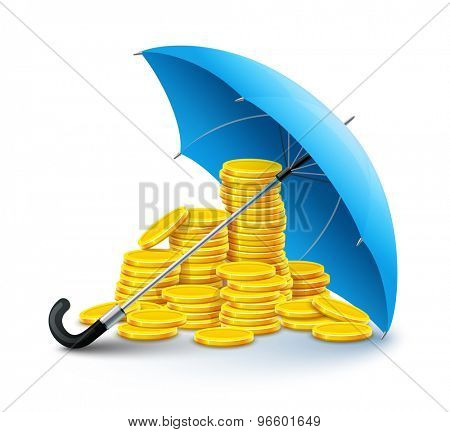 Gold coins money under umbrella protection. Eps10 vector illustration. Isolated on white background