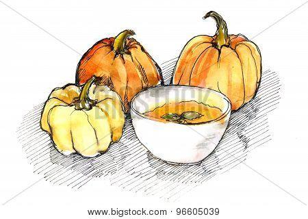 watercolor of pumpkins and pumpkin soup