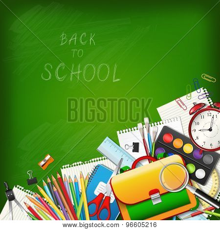 Back To School Background With Supplies Tools On Board