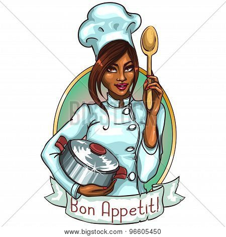 Pretty Chef with pot and spoon.
