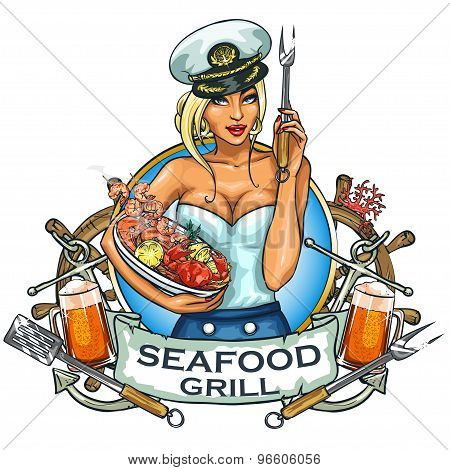 Seafood Grill label design