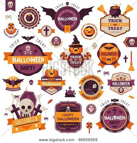 Set Of Vintage Happy Halloween Badges and Labels.