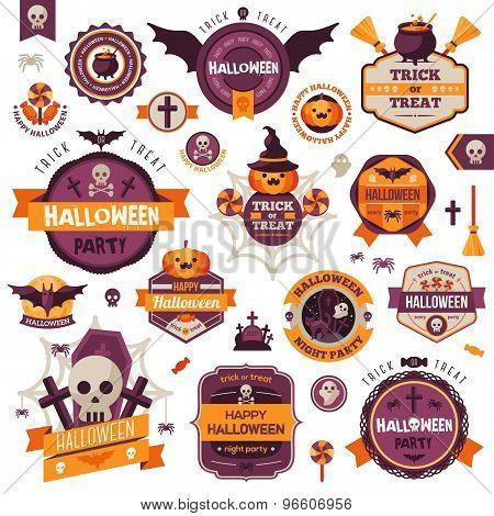 Set Of Vintage Happy Halloween Badges and Labels.