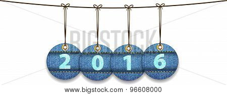 2016 Digits On Labels Made Of Jeans