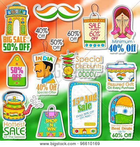illustration of Happy Independence Day shopping sale in Indian kitsch style